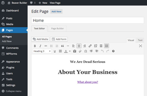 Beaver Builder content in WordPress editor