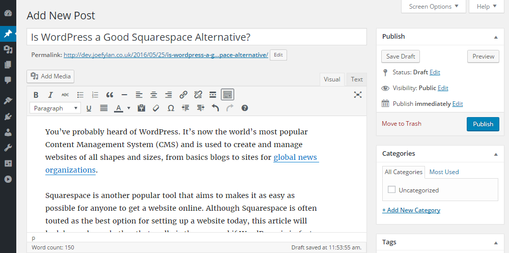 WordPress vs Squarespace WordPress Post Editor