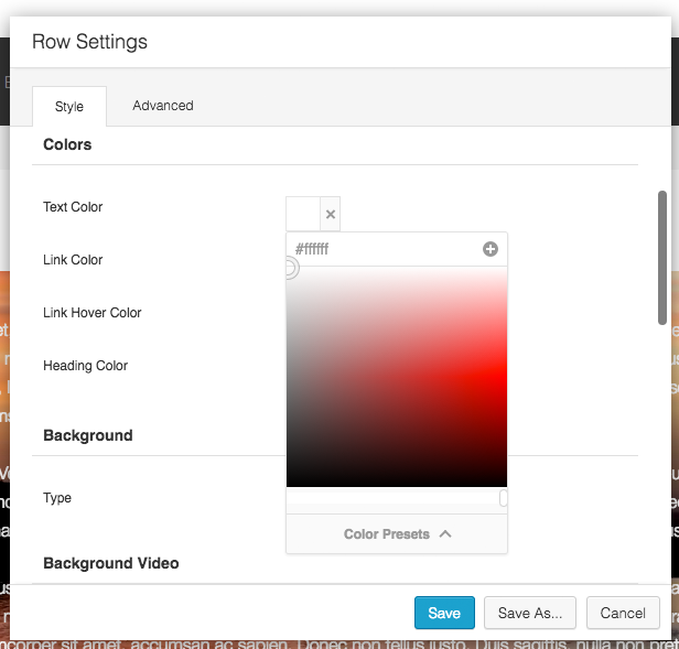 Row Settings Colors