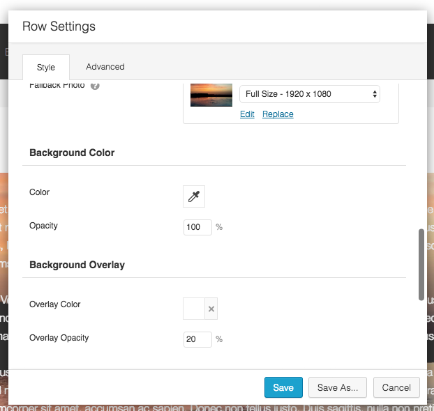 Row Settings Background Colors and Overlay