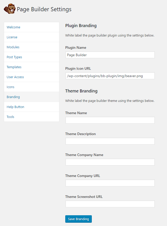 Beaver Builder Branding Settings