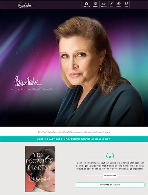 Carrie Fisher website screenshot