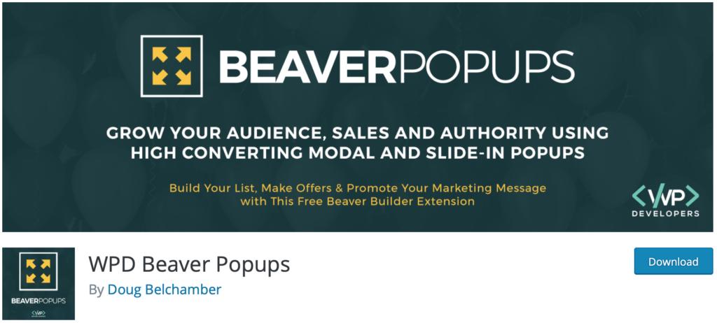 WPD Beaver Popups