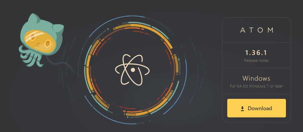 The Atom homepage.