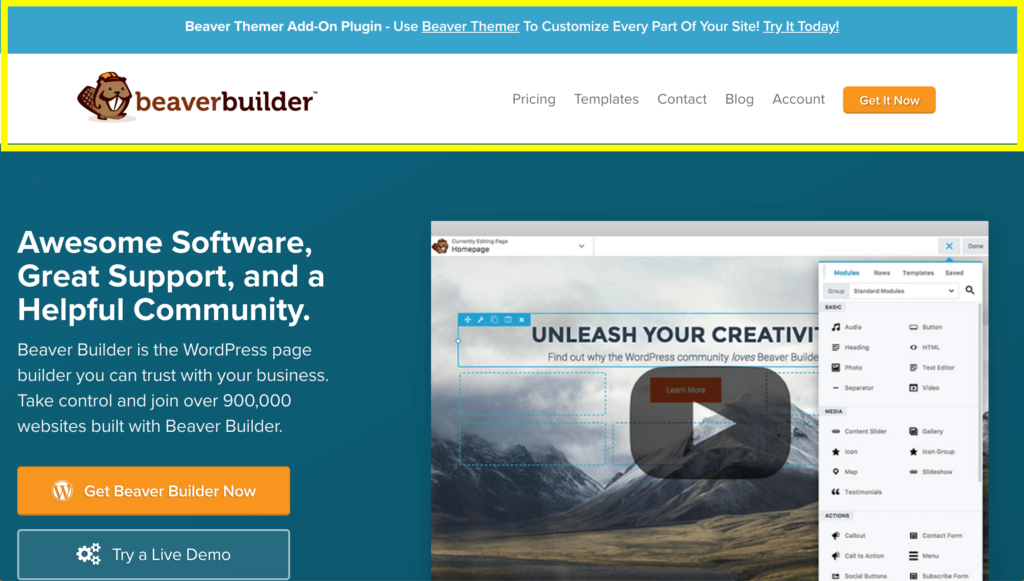 The Beaver Builder website header.