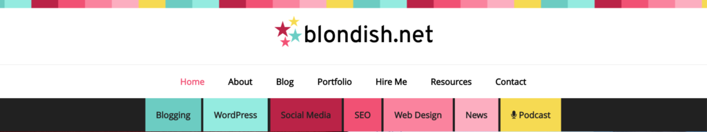 The Blondish.net header.