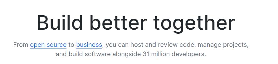The GitHub homepage.