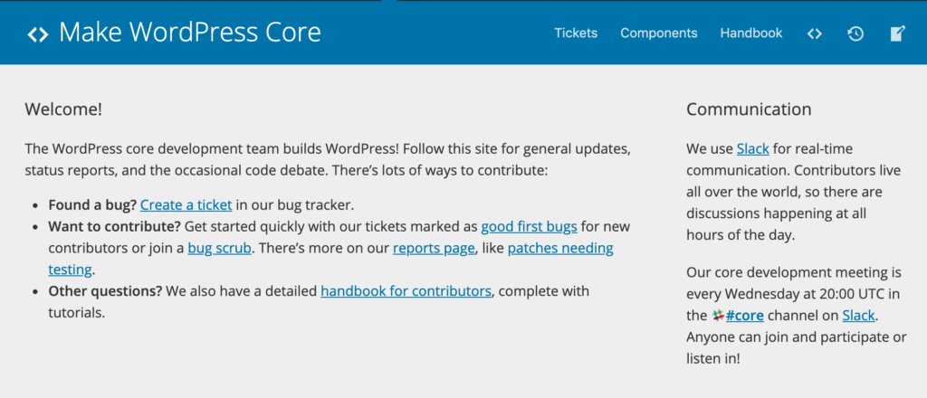 The Make WordPress Core page.
