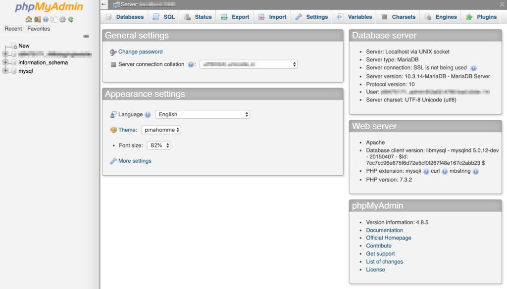 The phpMyAdmin database administration tool.