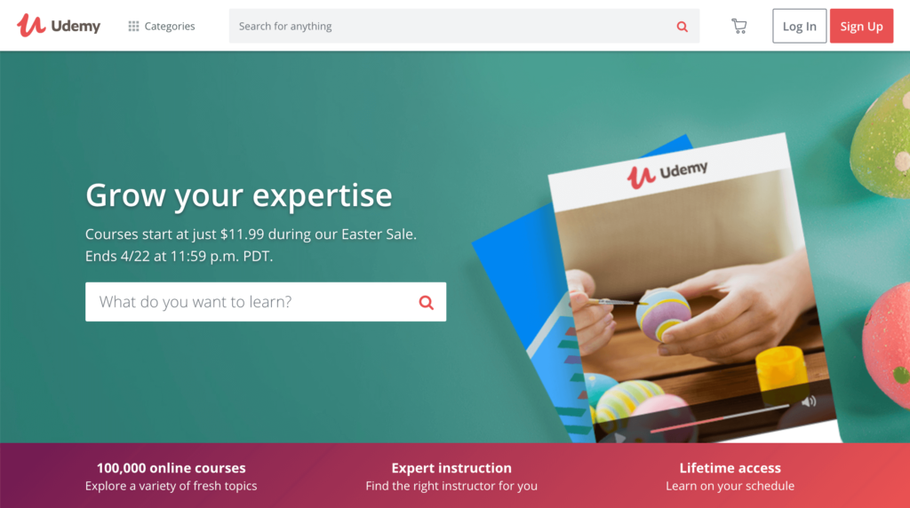 The Udemy Homepage.