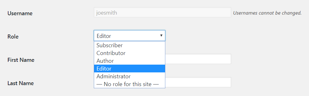 Changing a WordPress user's role.