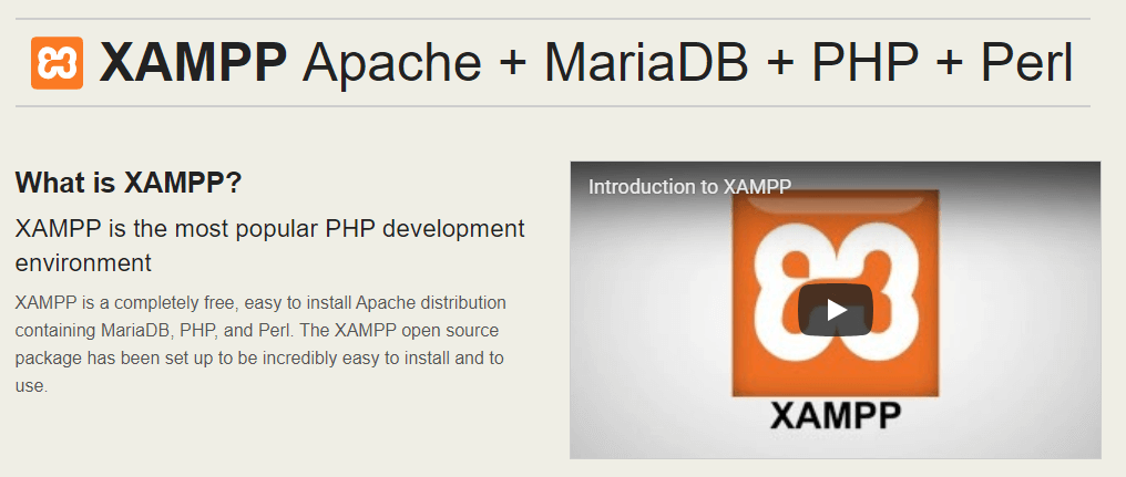 The XAMPP homepage.