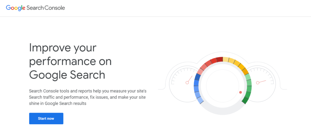 The Google Search Console home page.