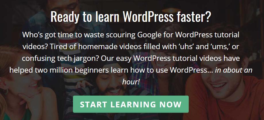 The WordPress 101 homepage.