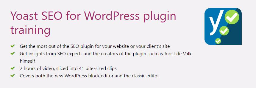 The Yoast SEO for WordPress Training homepage.