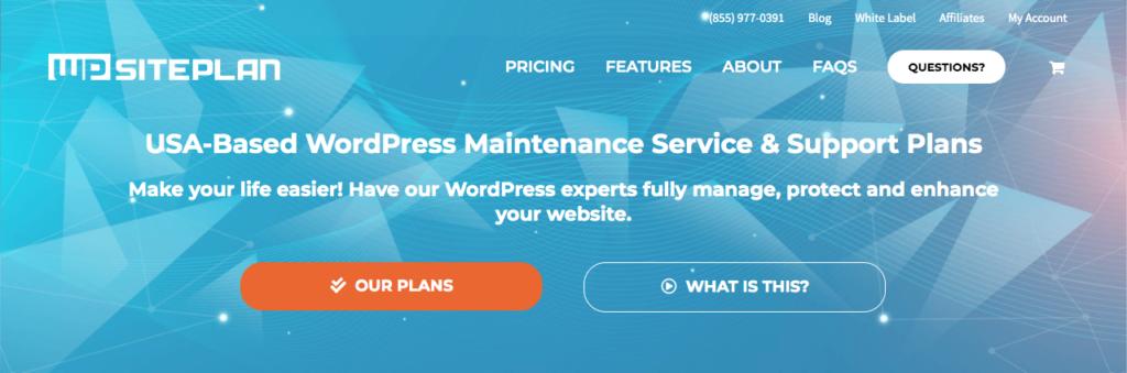 WP SitePlan's homepage.
