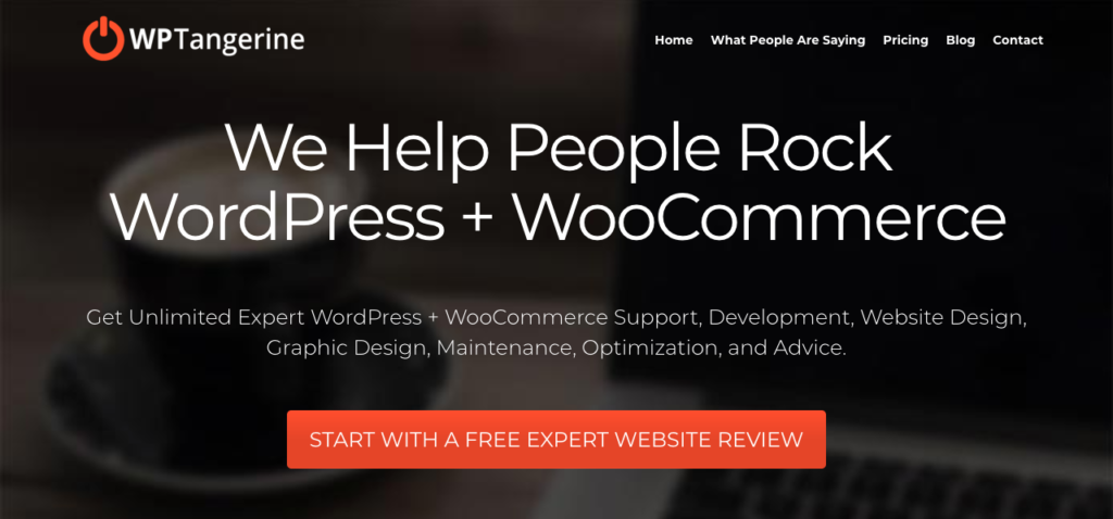 WPTangerine's homepage.