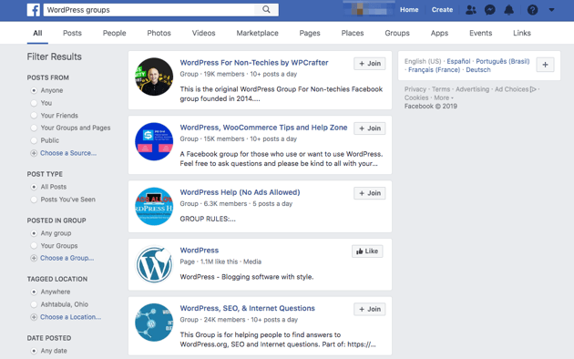 Search results for WordPress groups on Facebook.