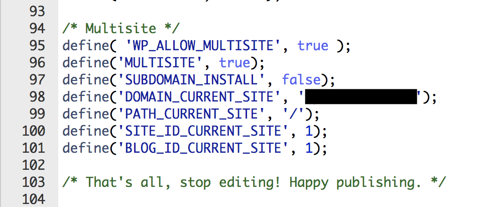 Multisite configuration code