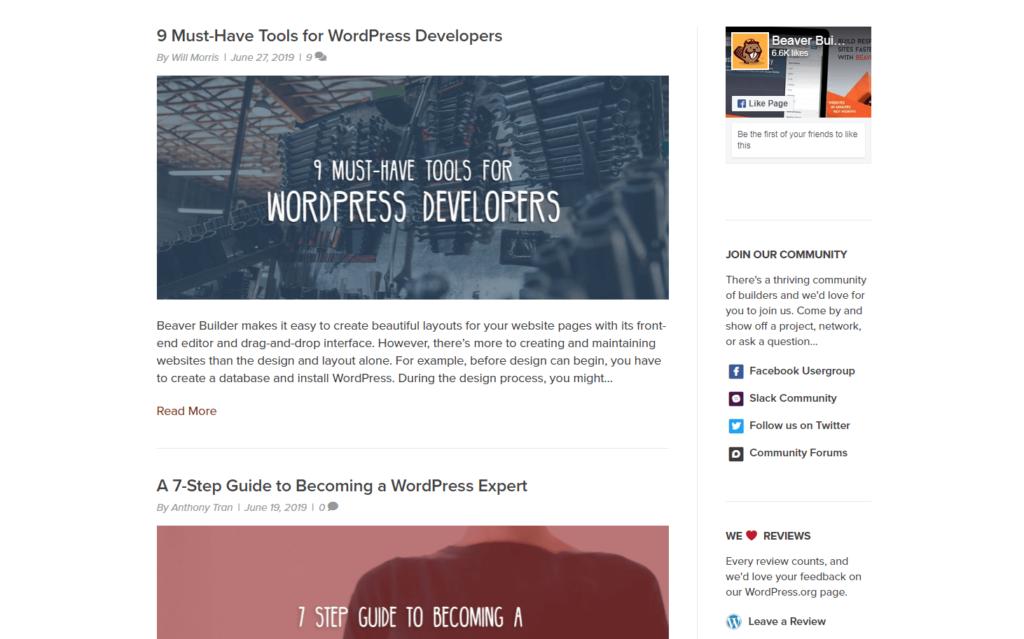 An example of WordPress blog posts.