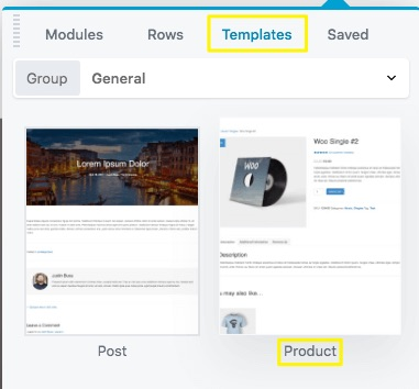The Beaver Builder menu with highlighting around the Templates tab and the Product template option.