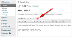 The icon to click to insert a form with the plugin CP Contact Form With PayPal