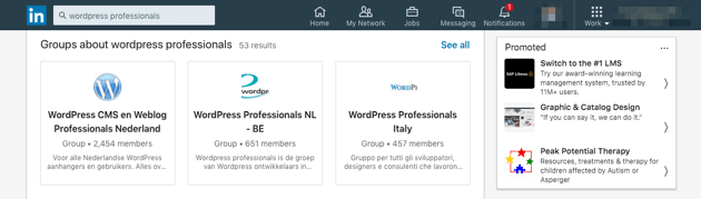 Search results for WordPress professionals on LinkedIn.