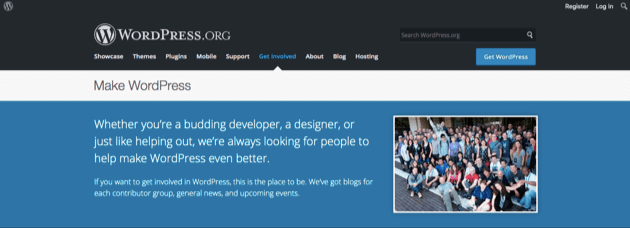 The Make WordPress homepage.