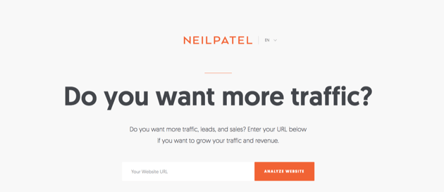 Neil Patel's homepage.