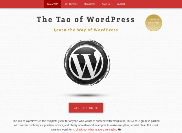 The Tao of WordPress homepage.