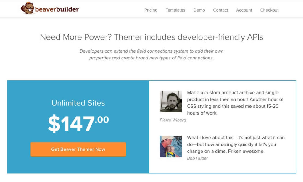 The Beaver Builder pricing page for Beaver Themer.