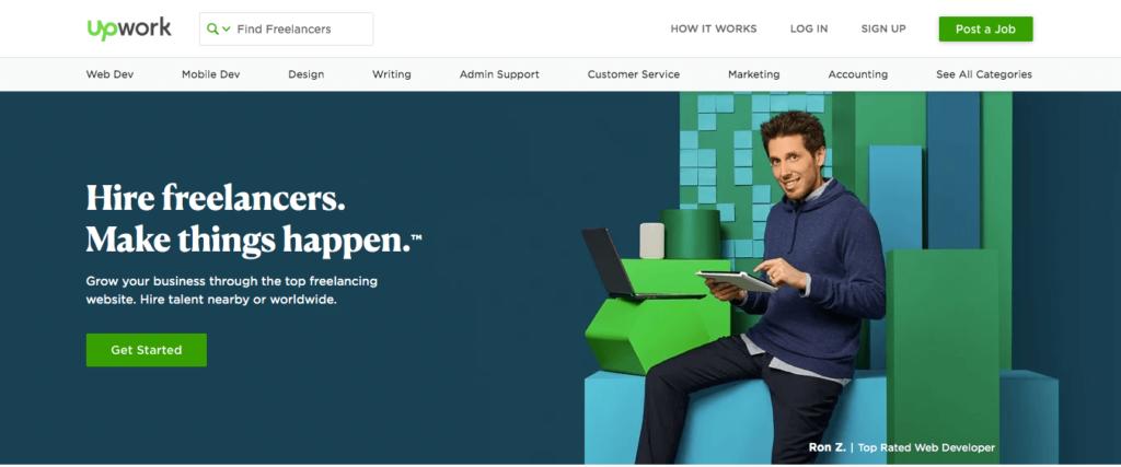 The UpWork.com homepage.