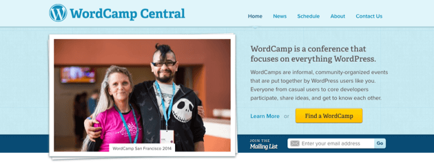 The WordCamp Central homepage.