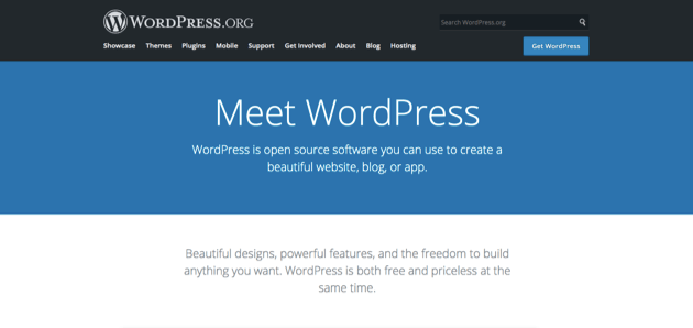 The WordPress.org homepage.