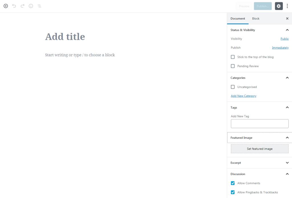 Adding a new WordPress post.