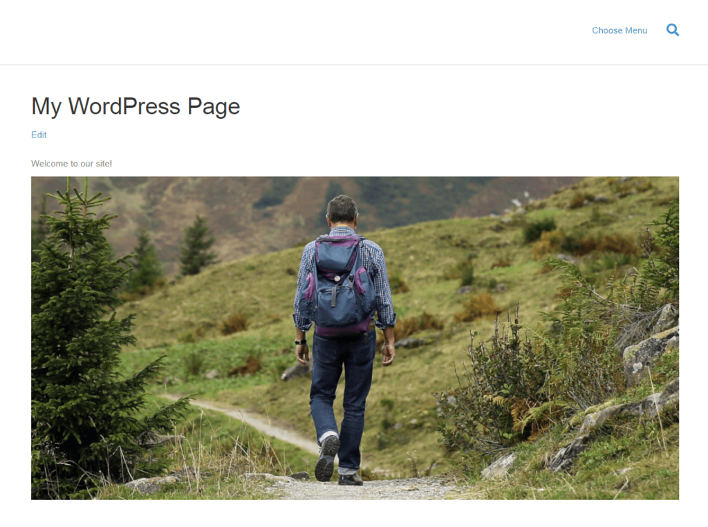 Previewing a page on the front end.