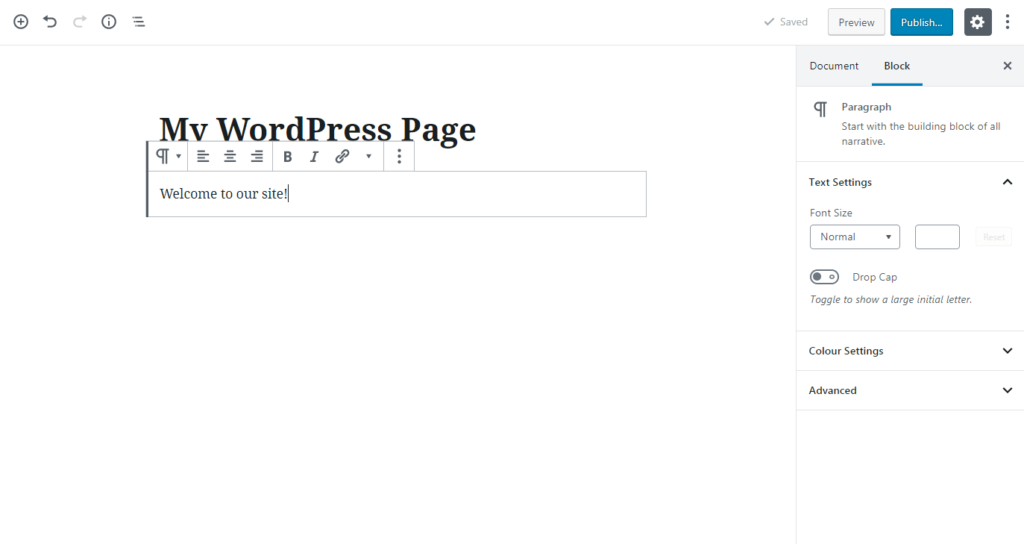 Adding a WordPress paragraph block.