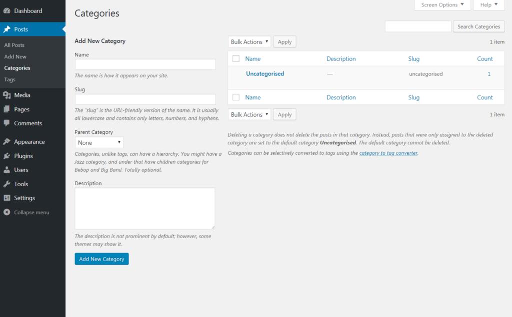 The WordPress Categories tab.