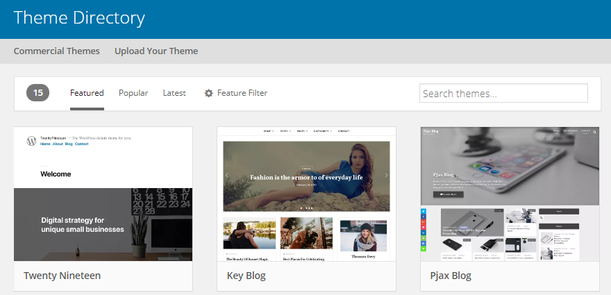 The official WordPress theme directory.