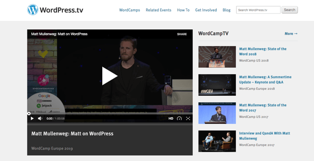 The WordPress TV homepage.