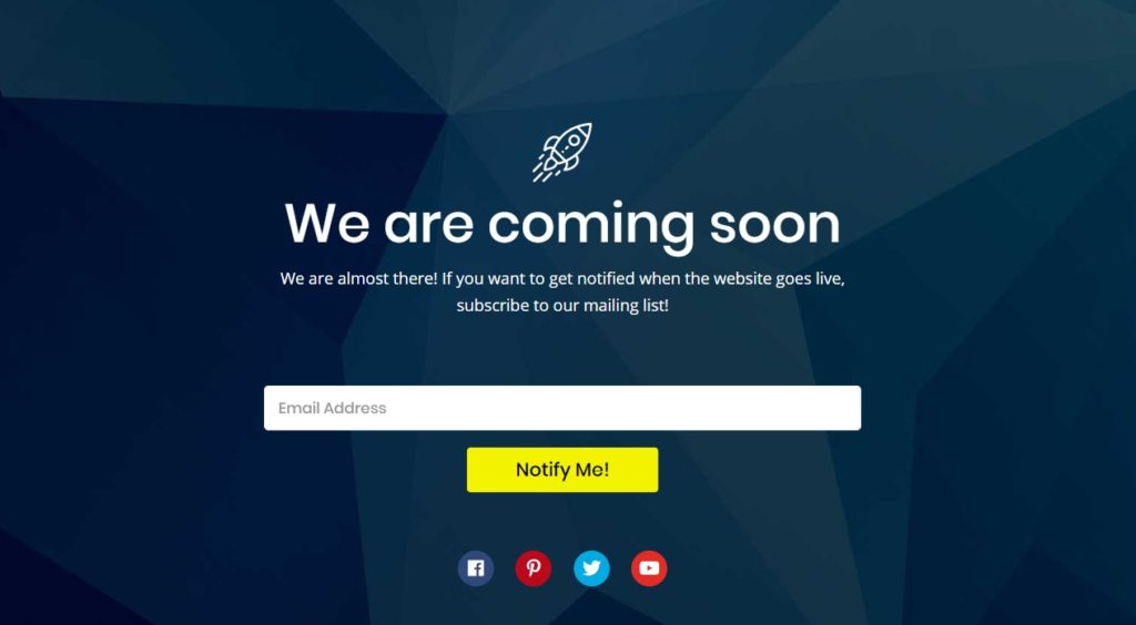 Coming Soon Landing Page view