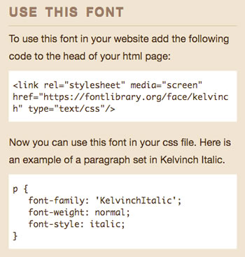 Font Library creates the CSS and HTML for you