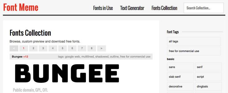 Font Meme offers free website fonts