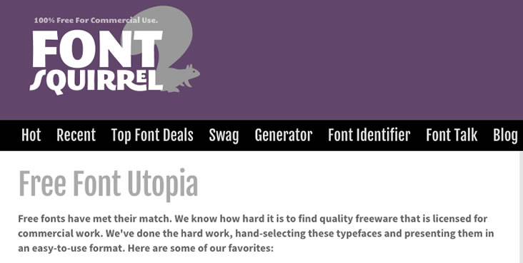 Web fonts for commercial use at Font Squirrel