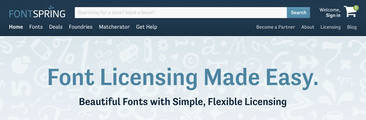 Licensed, paid fonts from Fontspring