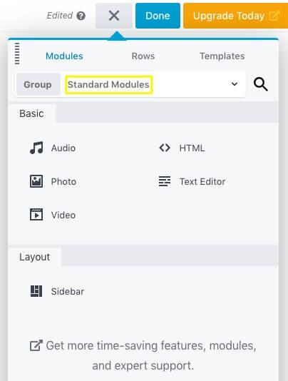 The Beaver Builder Lite module menu.