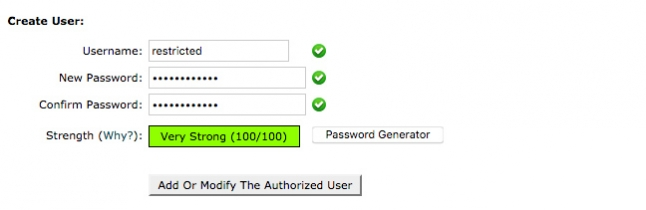 cPanel's password protection form