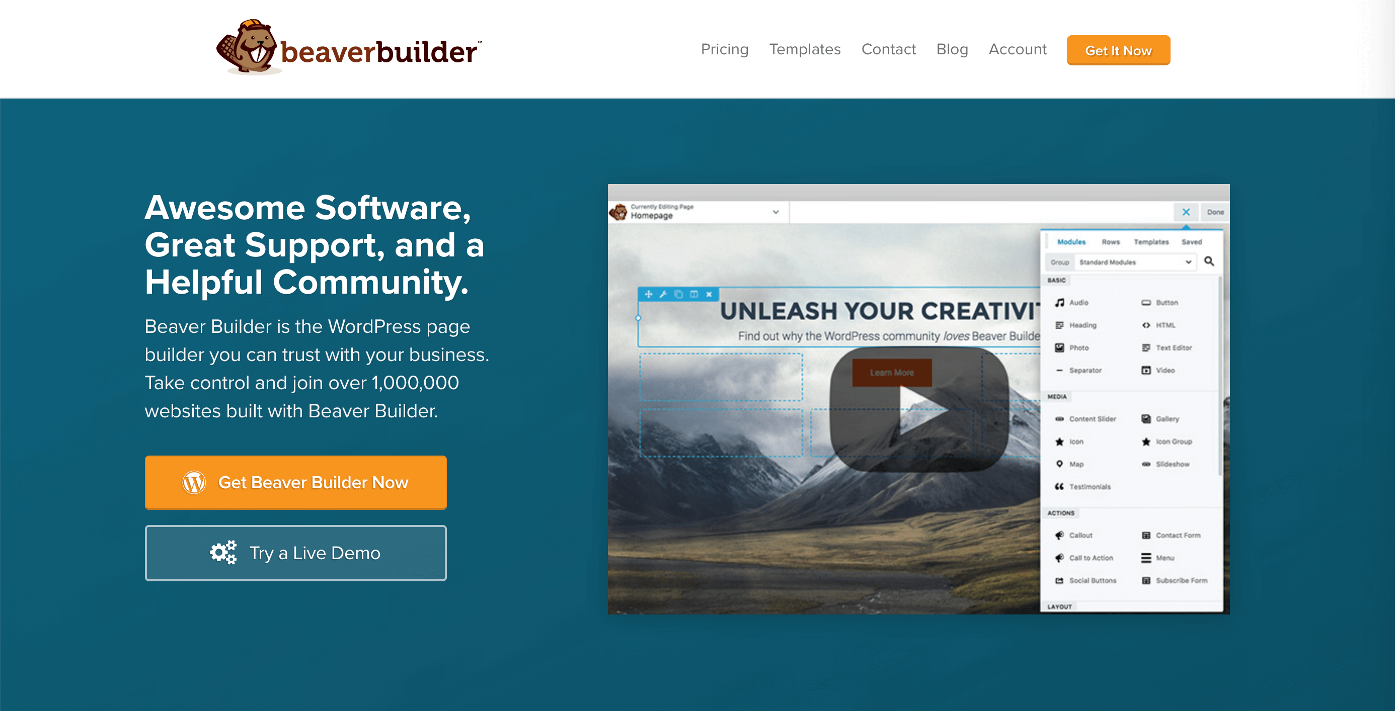 The Beaver Builder homepage, which features a dual-button CTA.