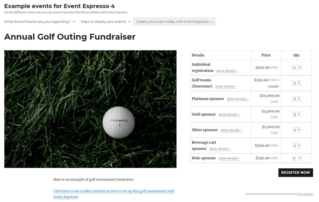 An Event Espresso demo site.