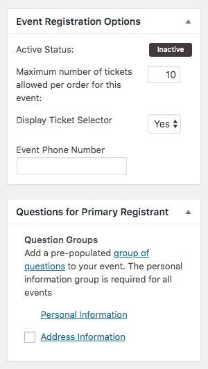 Event registration options.
